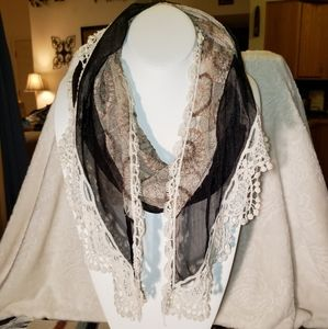 Accessories - Tapered Blk Brown Cream Lace Embroidered Scarf